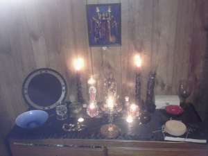 The Hekate/Witchcraft altar. Click to enlarge.